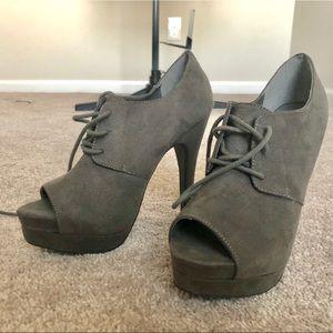 Grey Just (Fab) Fabulous peep toe tie up heel.